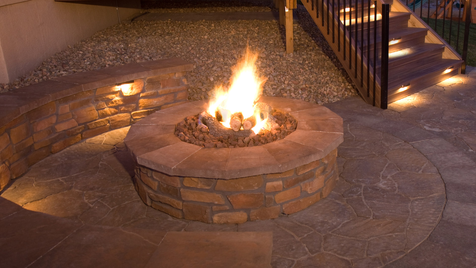 Recently constructed gas fire pit at a residential property in Loveland, CO.