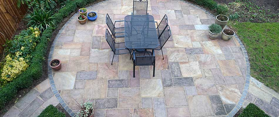 A stone patio from above on a Fort Collins, CO property.