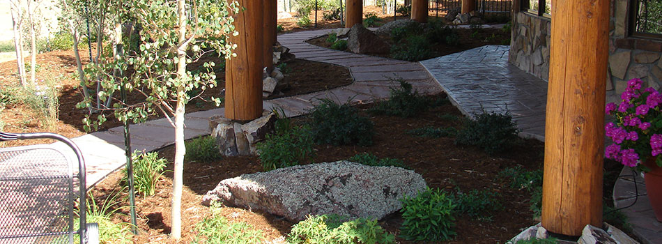 Natural stone walkway at a home in Loveland, CO.